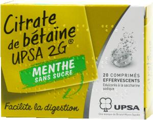 Citrate de betaine upsa 2 g  menthe sans sucre, comprimé effervescent édulcoré à la saccharine sodique